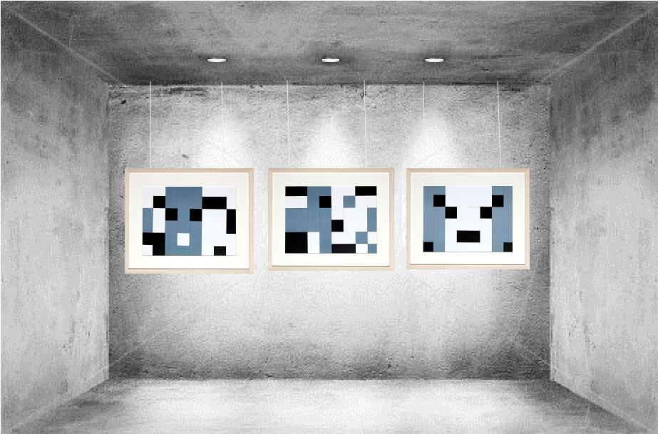Black grey white prints on white wall